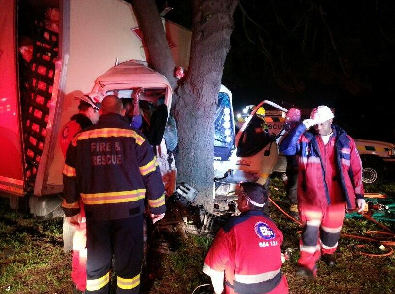 Man freed in two-hour rescue after delivery truck crashed into tree on M13 near Bellville, Cape Town