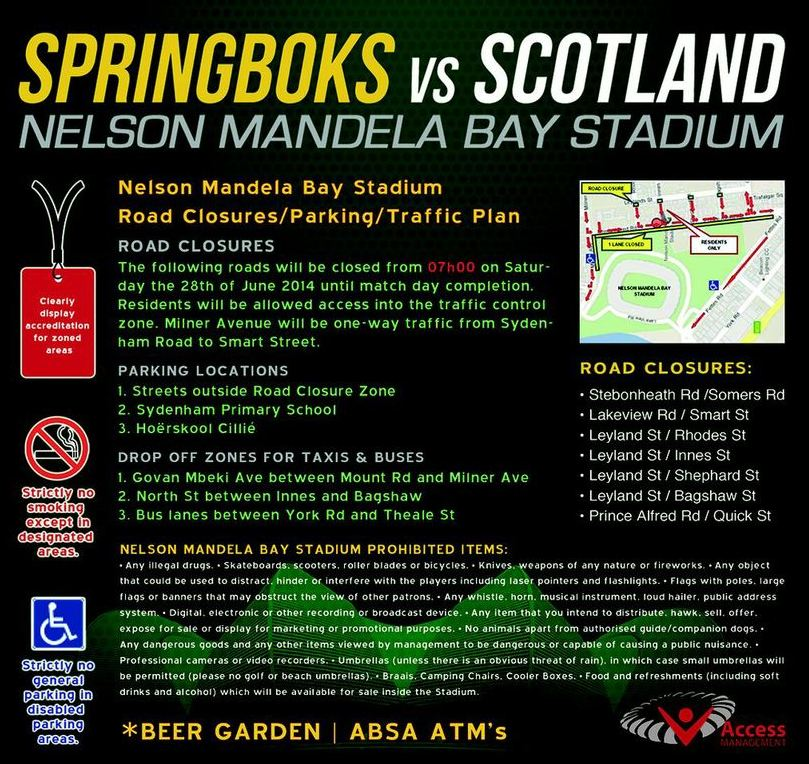 Road closures in Port Elizabeth as capacity crowd is expected for Springbok Test