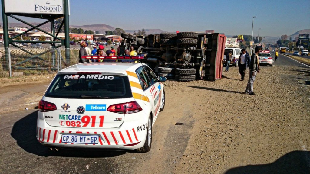 Northdale road truck crash leaves two injured
