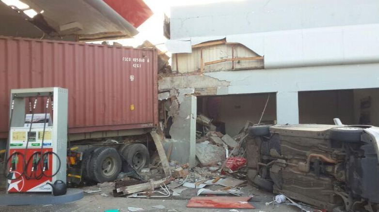 One injured as heavy goods vehicle ploughs through a service station in Alberton