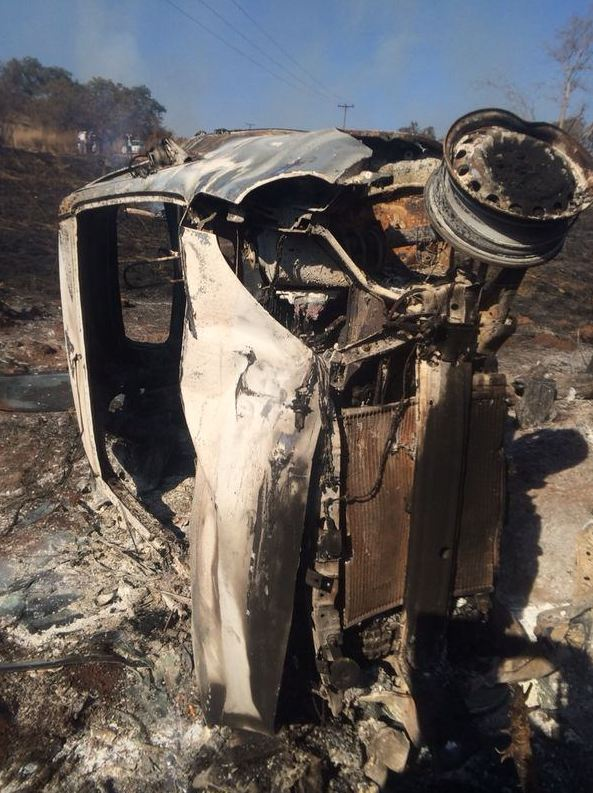 Young woman escapes flaming vehicle on the R511 near Centurion