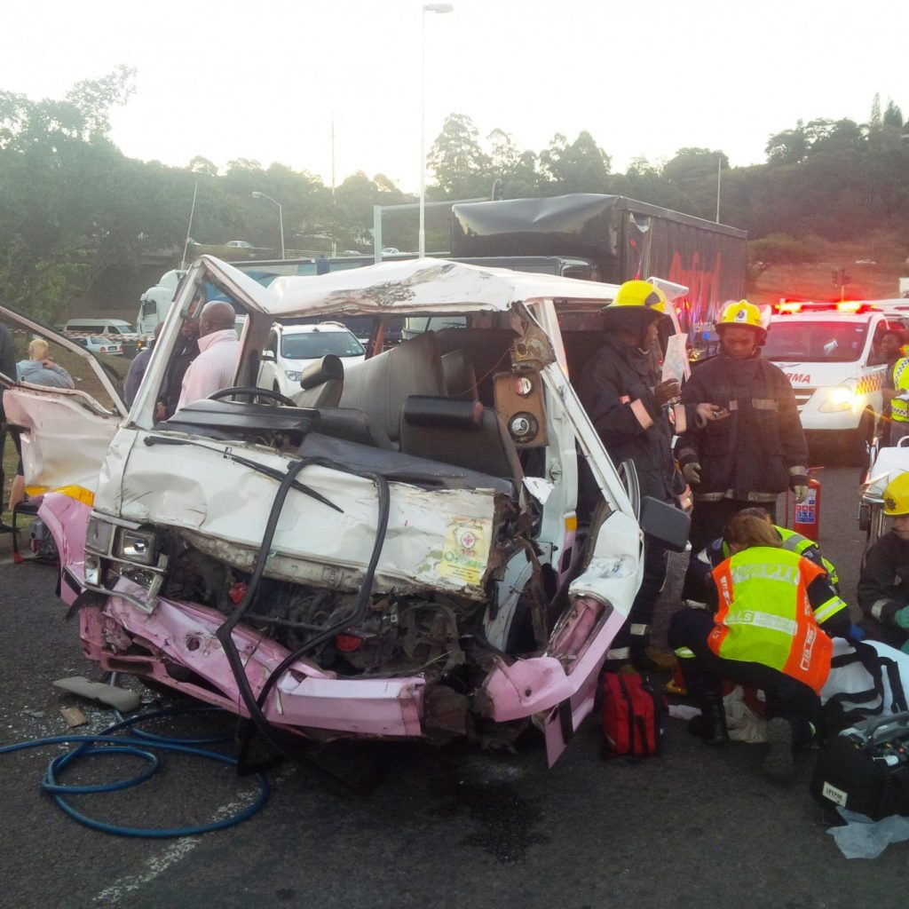 Photo from scene after after a taxi and truck collided M13 and Richmond Road at Pinetown
