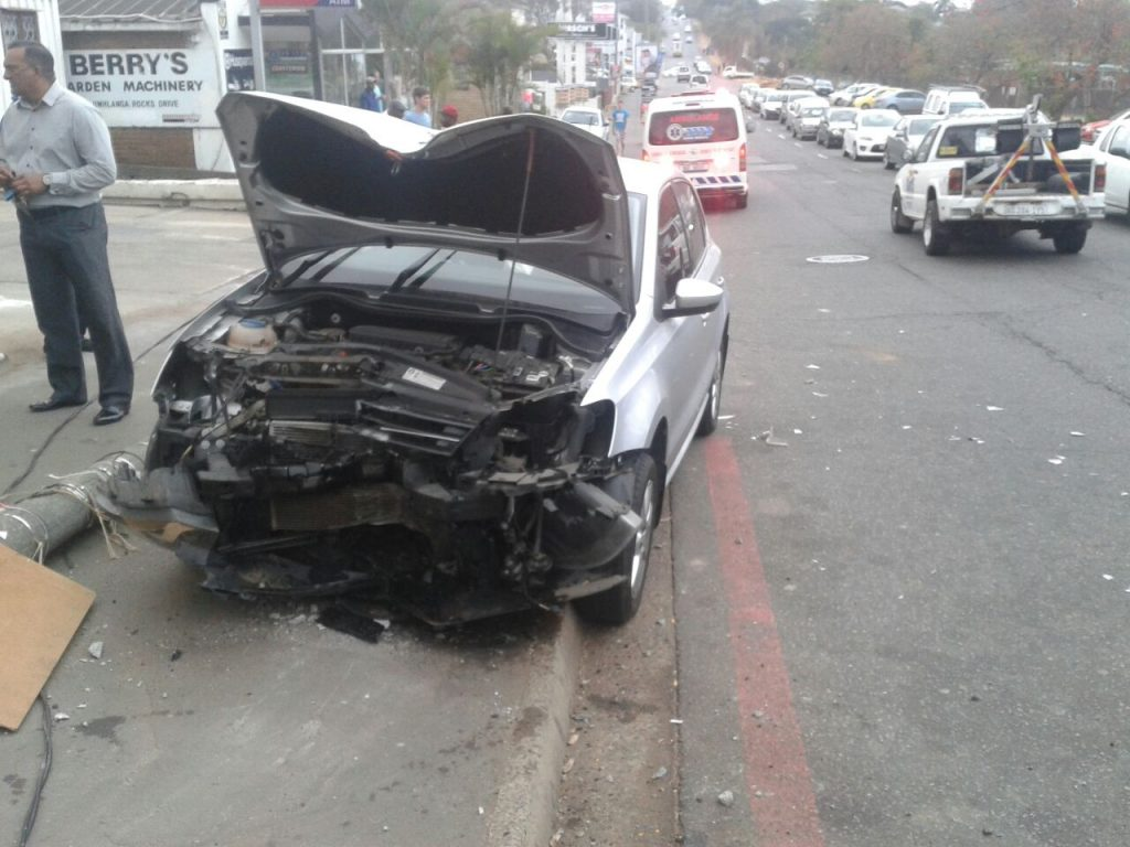 Driver lucky to escape after crashing into concrete pillar outside Whynotte petrol station