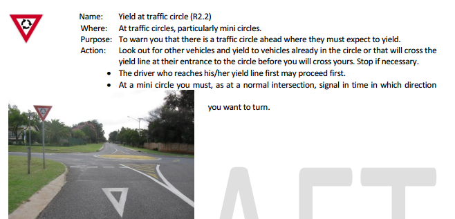 yield at traffic circle