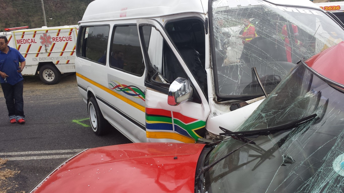Minibus and car collide on the KZN South Coast