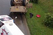 Photo after military vehicle rolled on the R24 Barbara in Isando