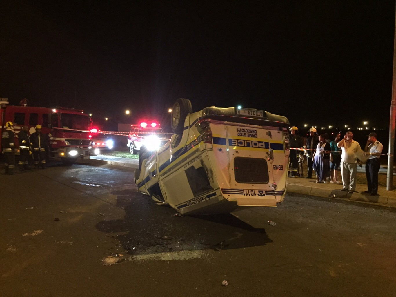 Two police officers moderately injured in head- on collision and roll-over in Bloemfontein