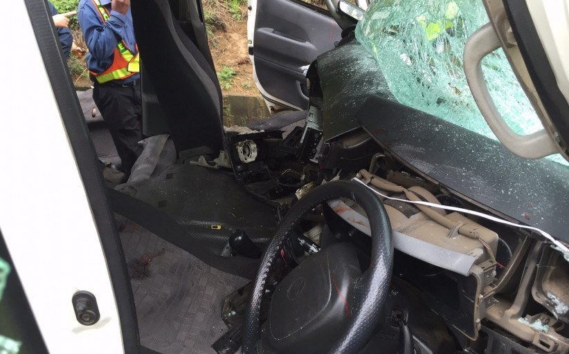 Photos from scene of rear-end collision as taxi crashed into truck on Van Reenen's Pass
