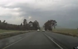 Near-miss after illegal overtaking caught on dashboard camera