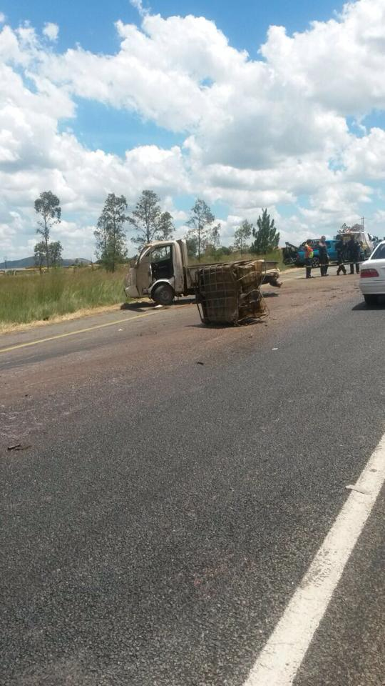 Light delivery carrying 300 litres of cooking oil overtuns on N14