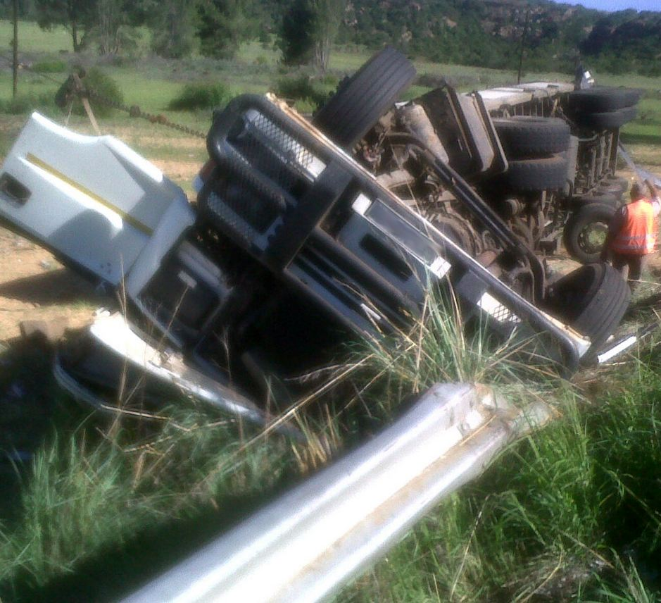 Jaws of life used to free truck driver next to Ladybrand