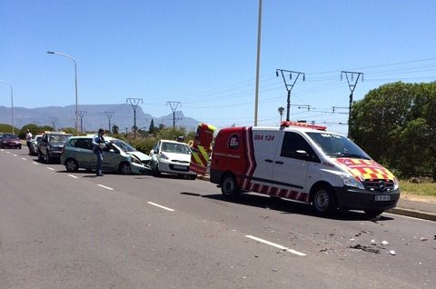 One injured when four vehicles collided