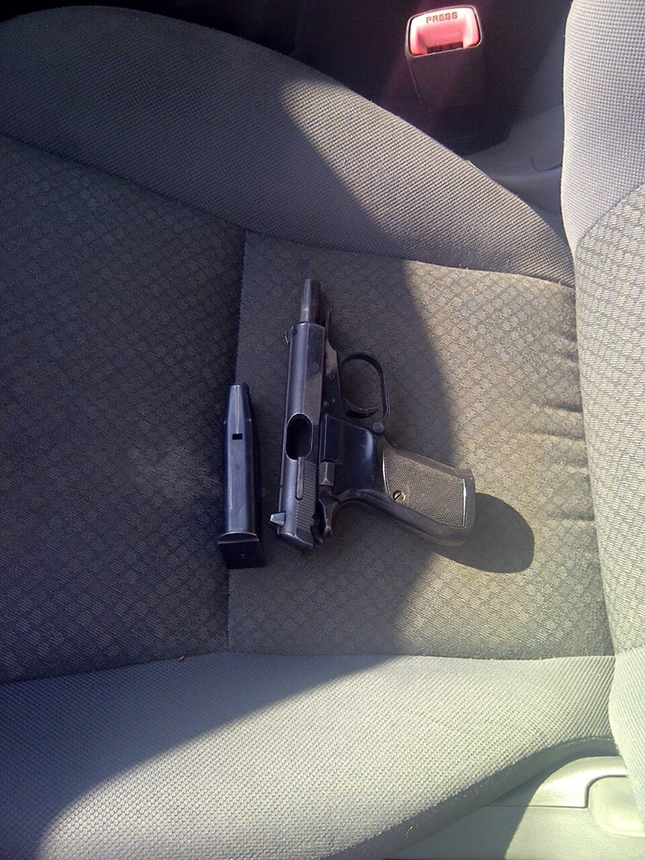 Arrest made and illegal firearm recovered when vehicle from which beer bottle was thrown is stopped