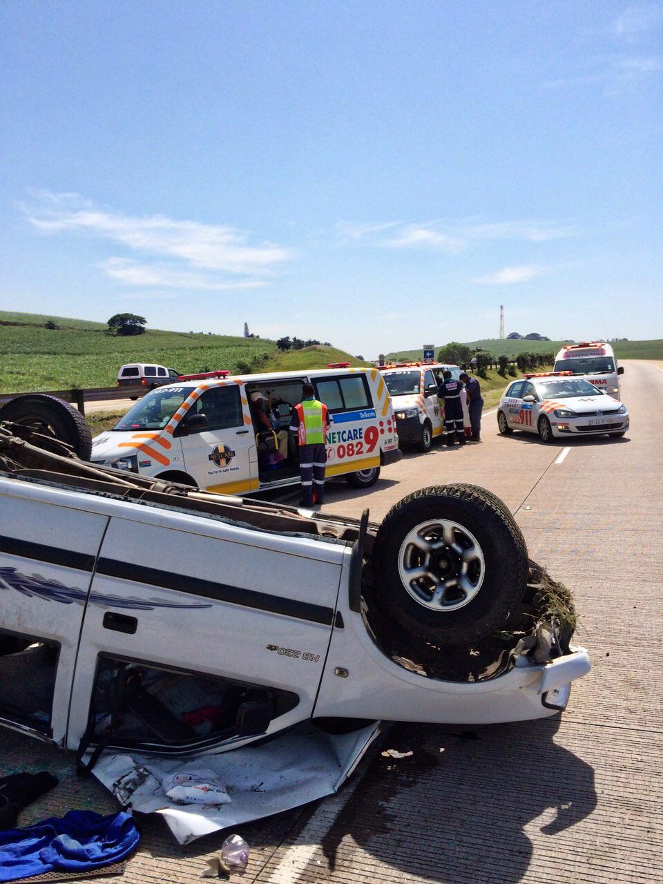 Five people were injured after a bakkie overturned on the N2