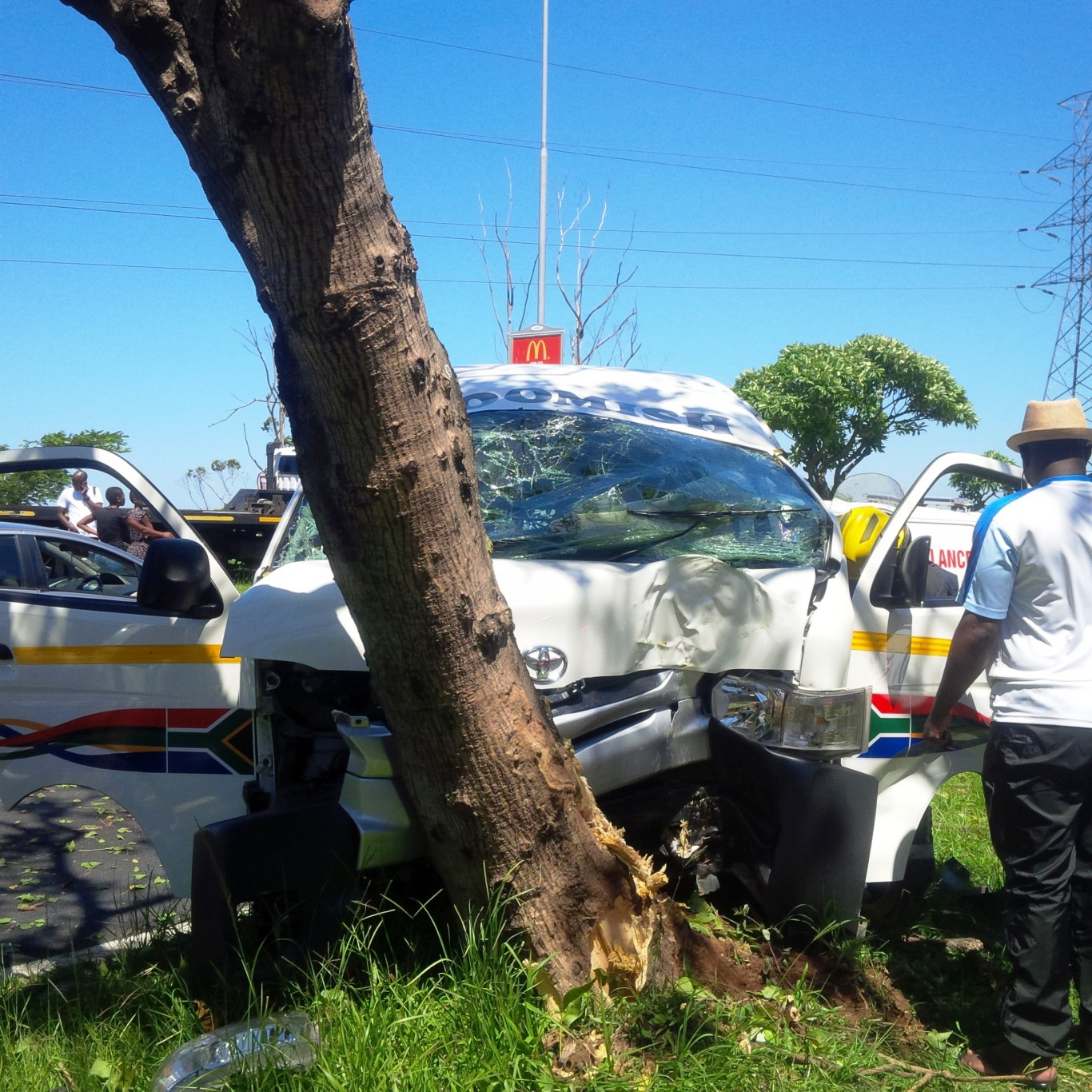 Taxi collides into tree leaving 15 injured