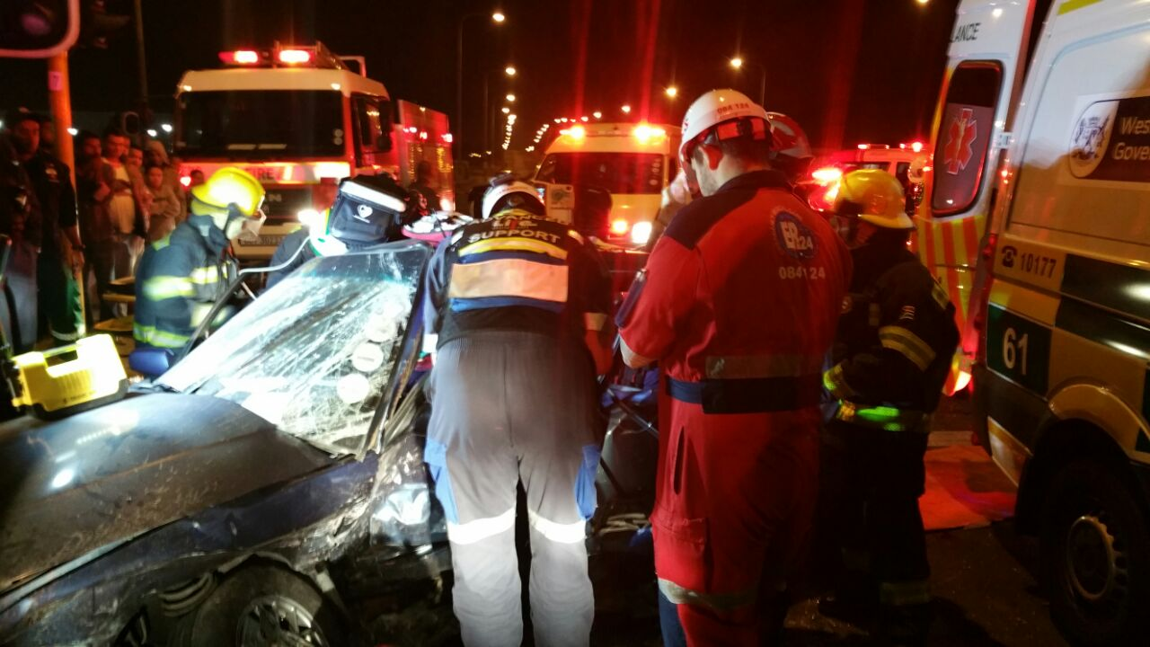 One person injured in collision with broken down truck