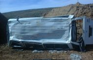Twelve people have been injured when a minibus overturned on the R74
