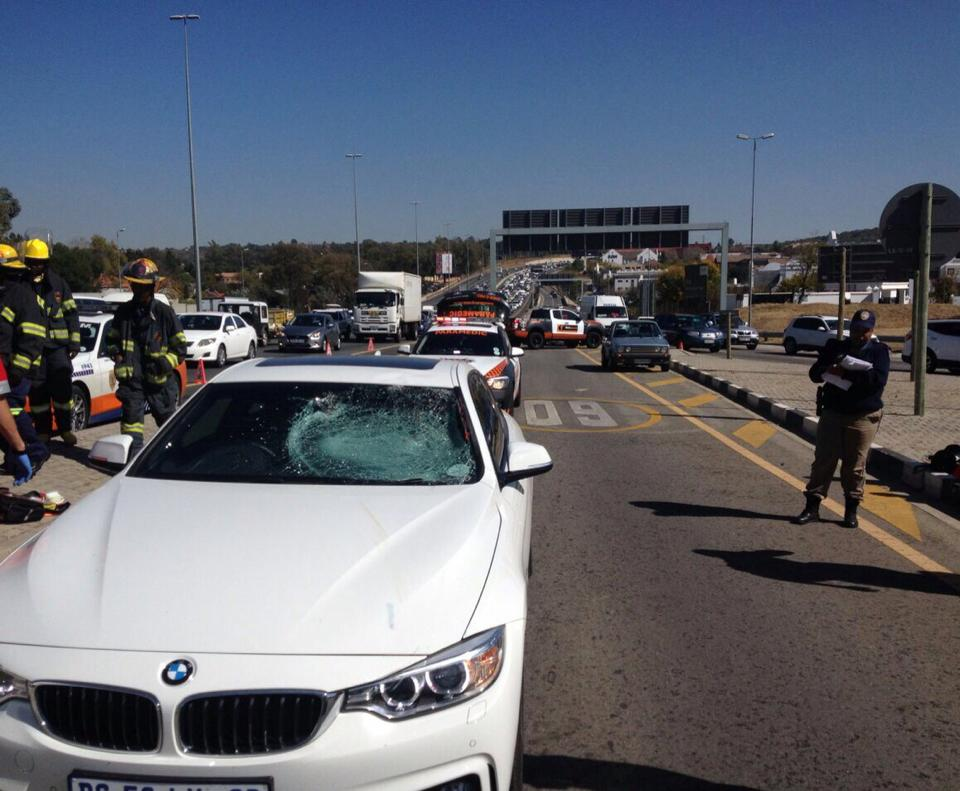 Allegation that pedestrian jumped onto vehicle driven on Rivonia off-ramp