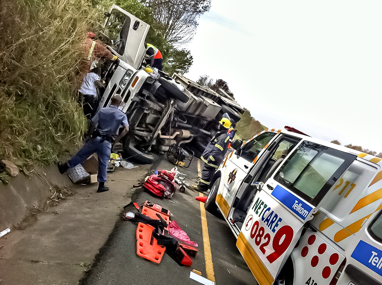 Lady killed in collision with truck on the N1 South before Olifantsfontein off-ramp