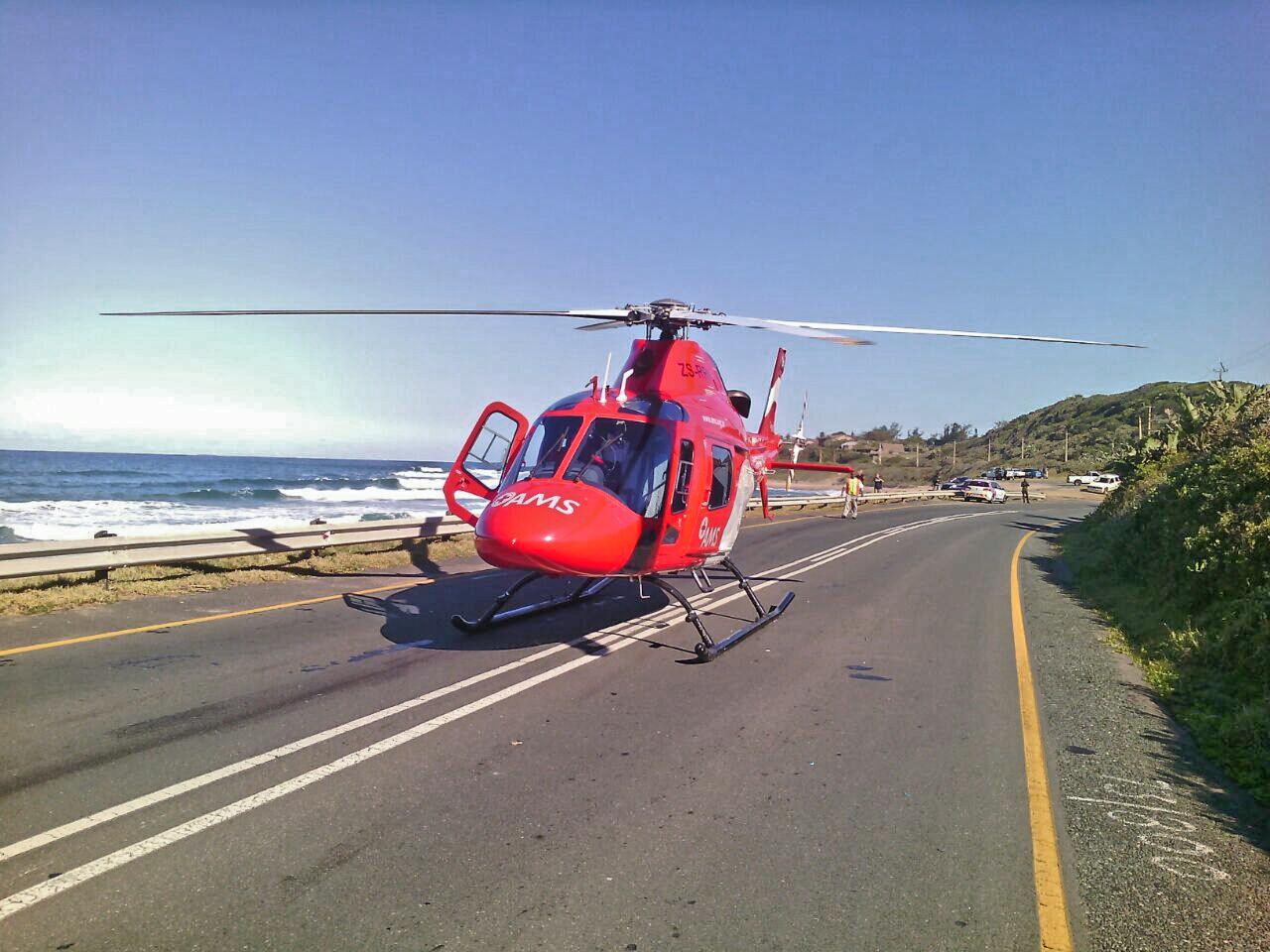 Road crash victim airlifted from crash at Umkomaas