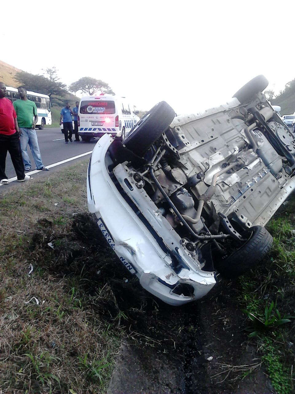Two injured in single vehicle rollover on the N2 near Umgeni