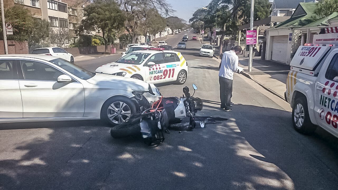 Road Crash on Innes Road in Durban leaves biker seriously injured