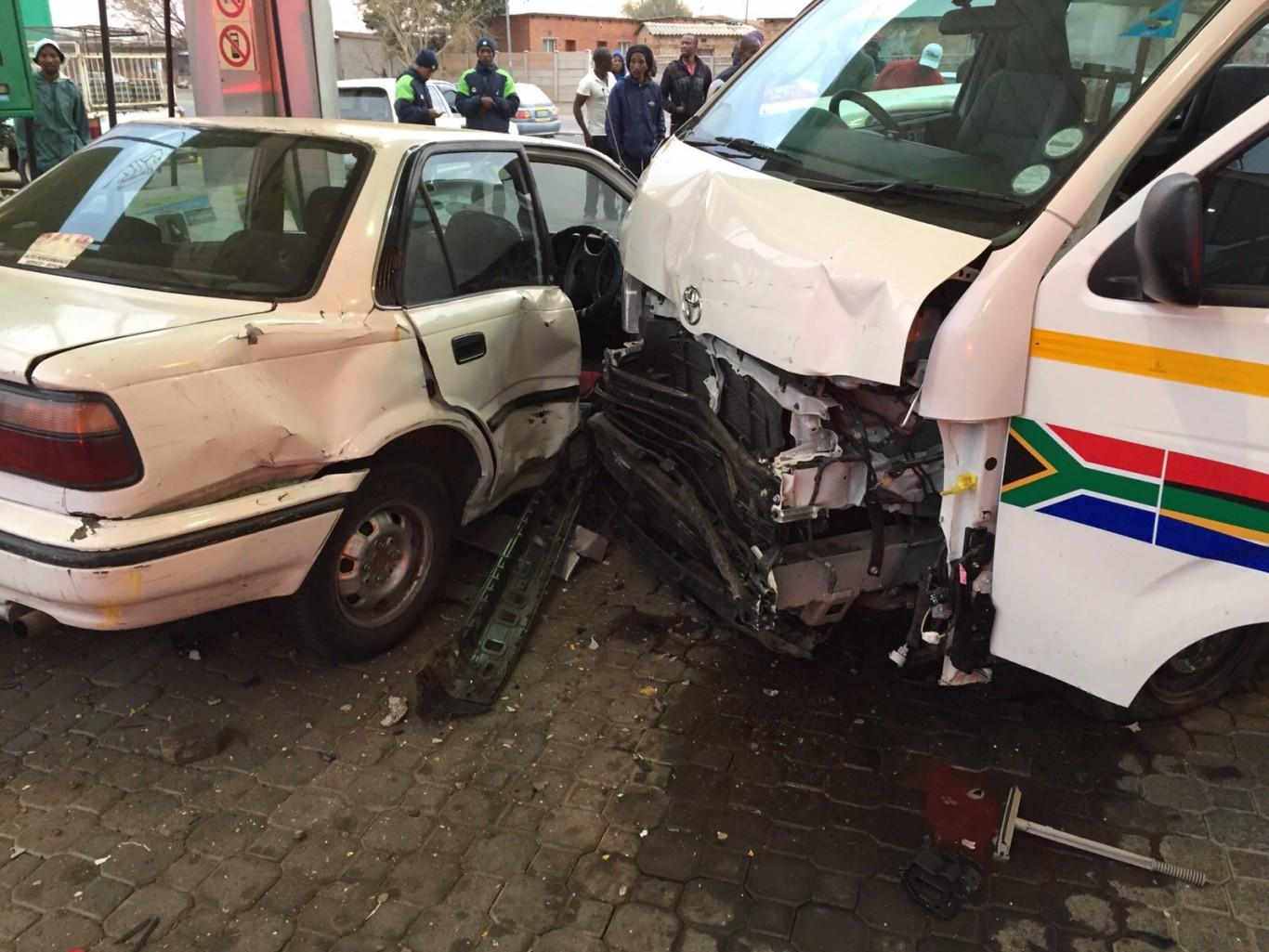 Petrol station collision, seven injured1