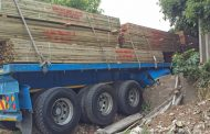 Disaster narrowly avoided after truck crashes down embankment in Port Shepstone