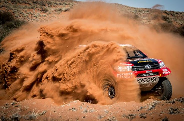 Three official Toyota Hilux race vehicles shipped to South America
