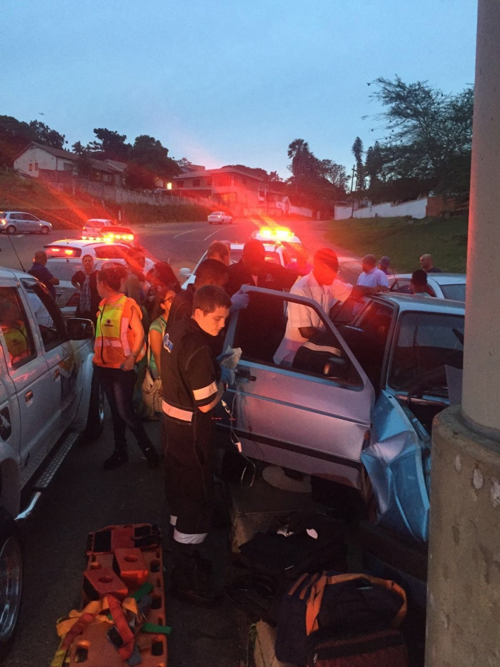 Man seriously injured as car smashes into bridge, Redhill, Durban