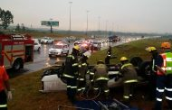Two injured in vehicle rollover on the R21 North past Olifantsfontein, in Tembisa