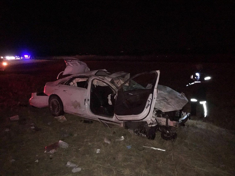 Driver and pedestrian killed in collision at night on the N14 highway
