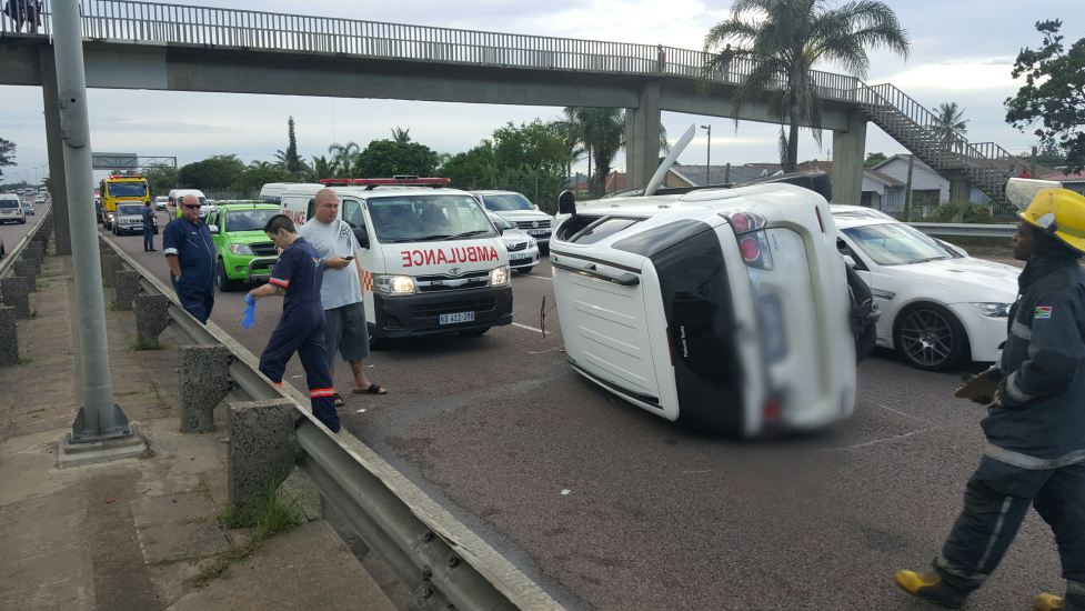 Two vehicles roll on Durban freeway