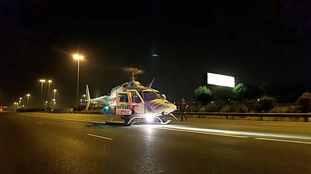 Fatal collision on the N1 North before the Buccleuch Interchange, north of Johannesburg