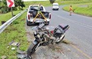 Biker injured when crashing into Armco barriers