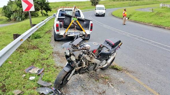 Biker injured when crashing into Armco barriers