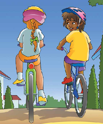 Sibo and Lizzie cycling