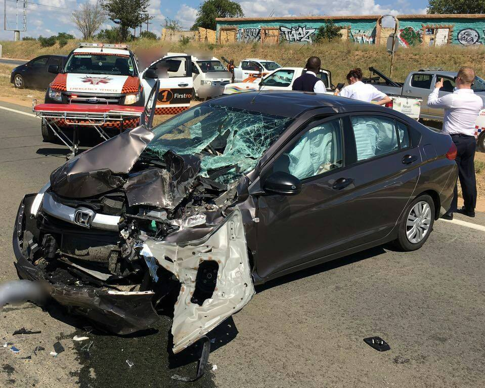 Car rear-ends truck outside Lanseria airport