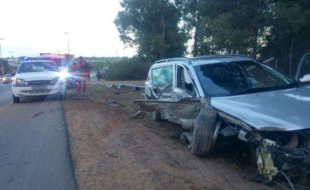 Bakkie and station wagon collide in Stellenbosch injuring three