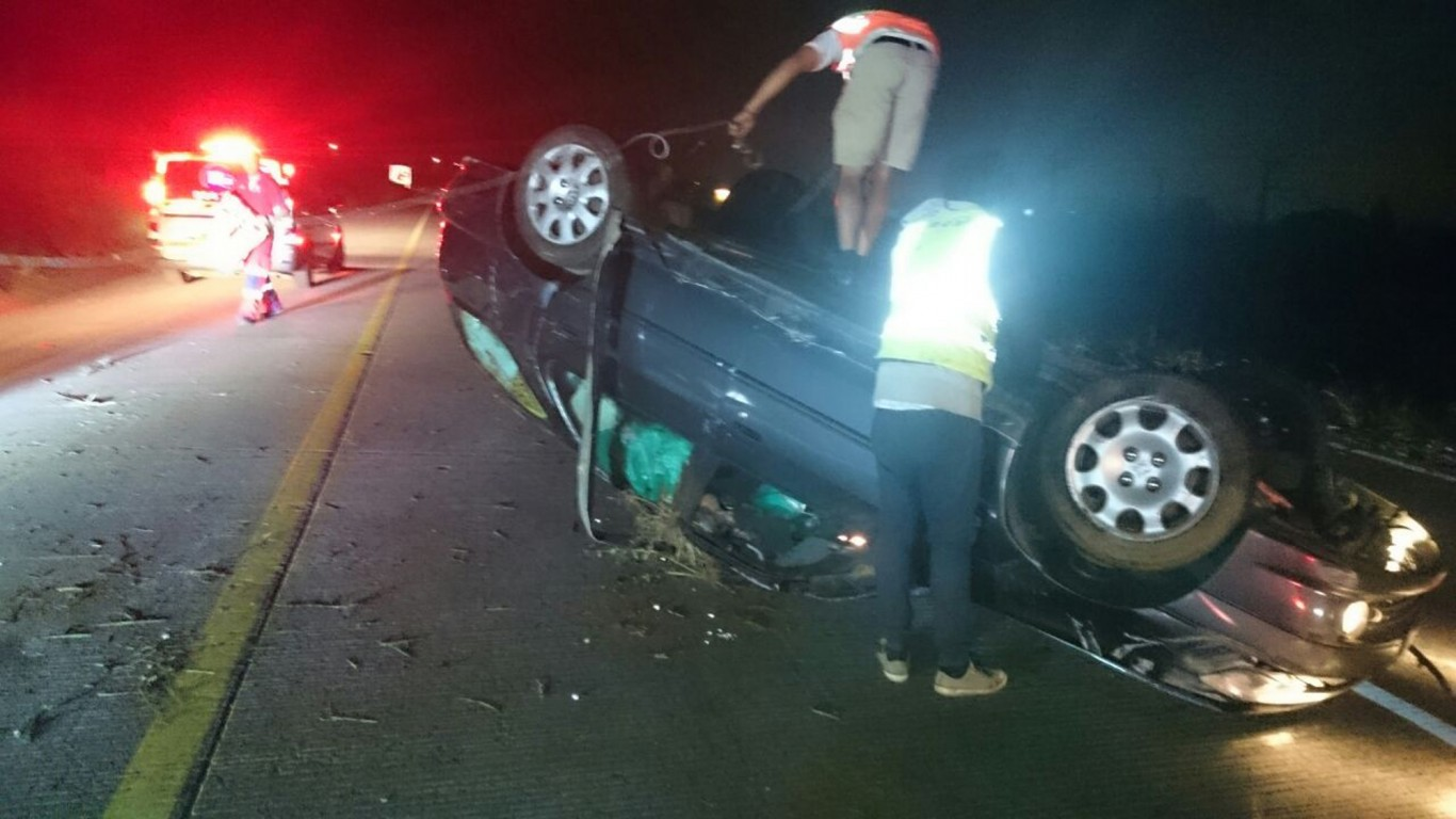 Men lucky to escape serious injury after vehicle overturns