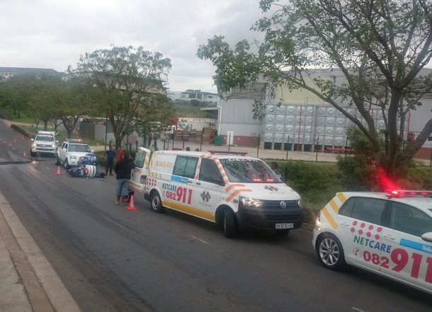 Motorcyclist injured after colliding with car in Newlands Kwa-Zulu Natal
