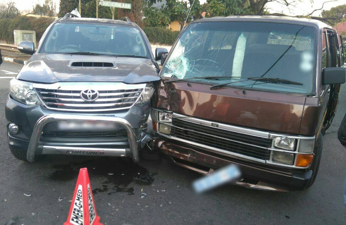Two injured in taxi crash on corners of Hathorne and Viljoen, in Sydenham.