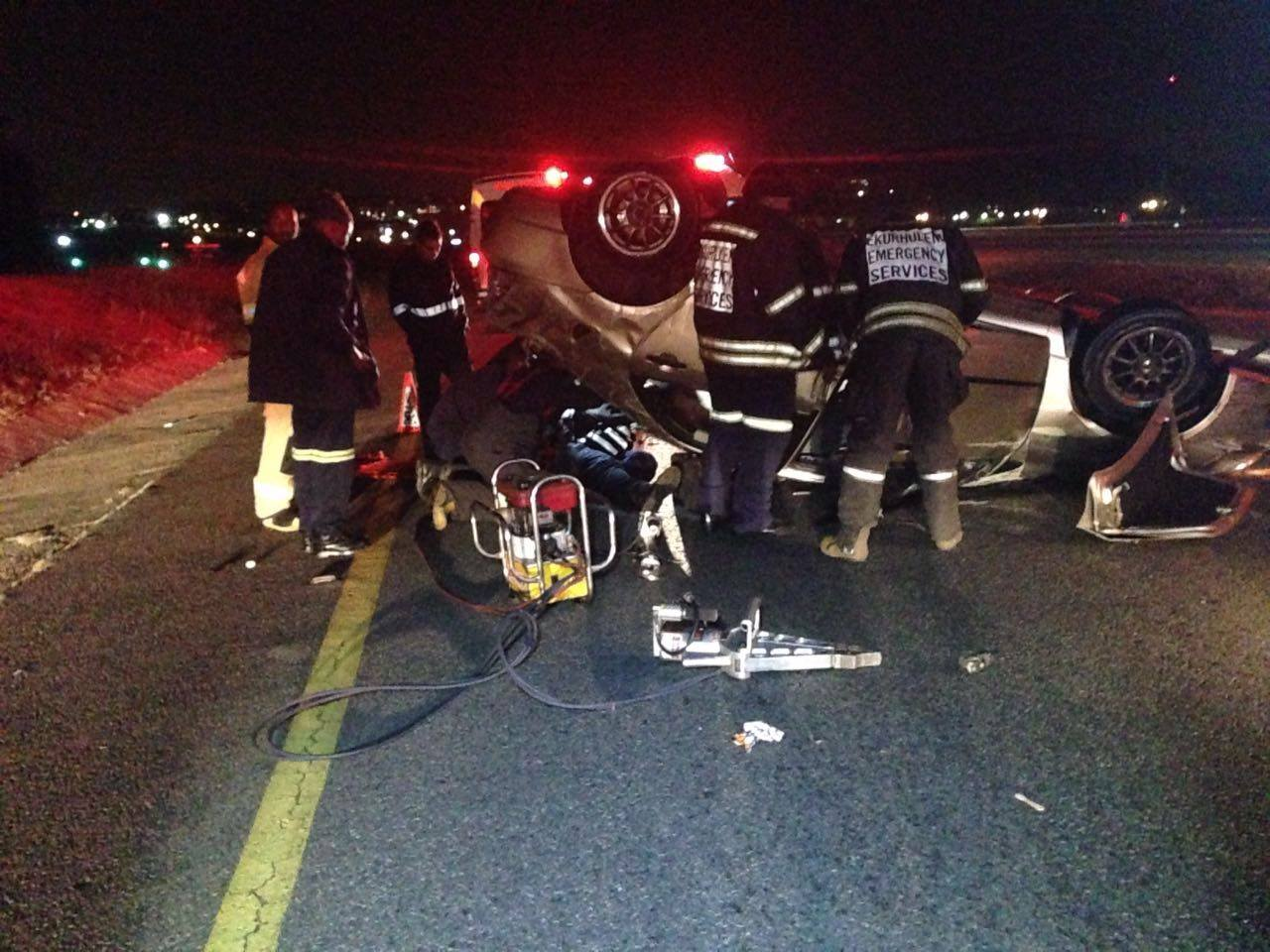 Driver entrapped in collision in Alberton
