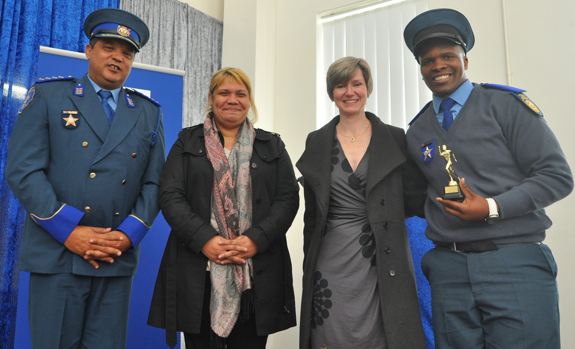 Farrel Payne (Head of Gene Louw Traffic College), Deidre Ribbonaar (Acting Head of Transport Management), Jacqueline Gooch (Head of Department) and Monwabisi Siswana (Physical Training Top Achiever).