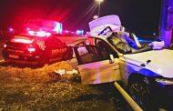 High speed crash into pole in the Brakfontein Interchange, Pretoria.