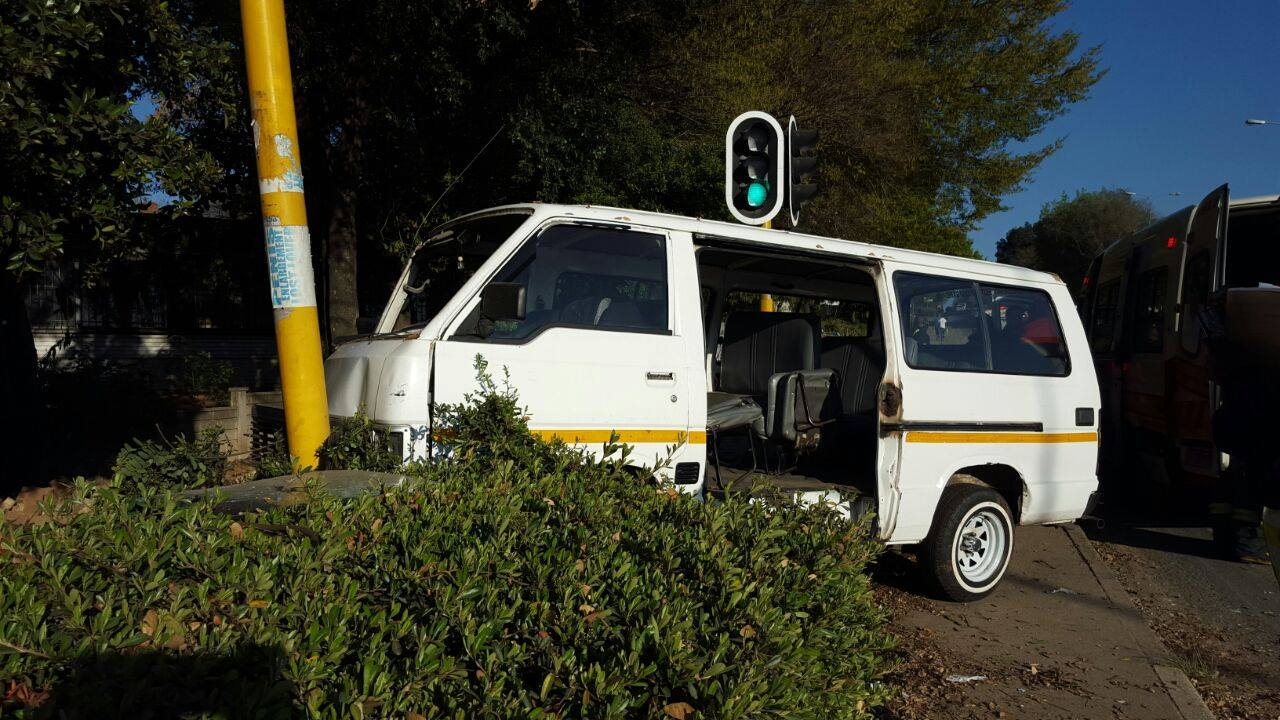 Taxi crash on the corner of Grayston Drive and Helen Street, in Central Sandton.