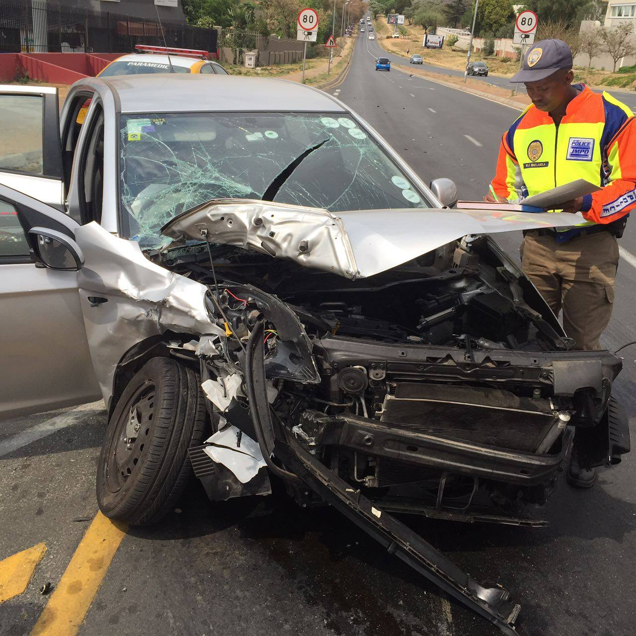 Head-on collision on Rivonia and North Roads, Morningside