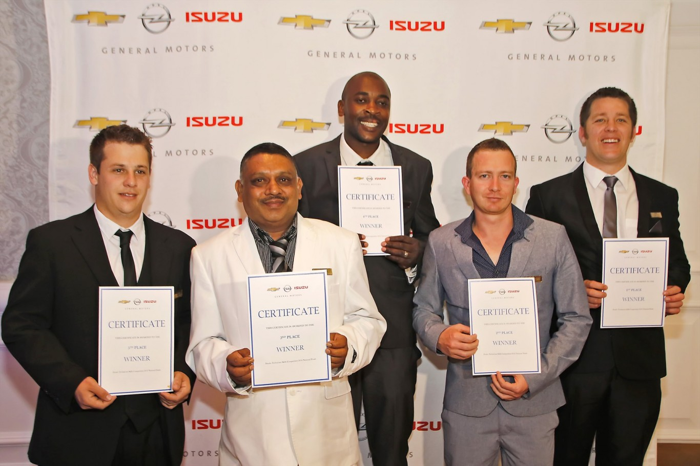 Top Five: The technicians who competed in the final round of the Top Technician Skills Awards are from left: Kieran Vermaak (Edmond Auto), Sujit Munniseker (South Coast Motors), Michael Nyakudya (Imperial GM Germiston), Hendre Hulscher (Reeds N1 City) and Gawie Engelbrecht (Williams Hunt Port Elizabeth)