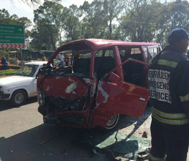 A taxi had T-boned a truck Germiston