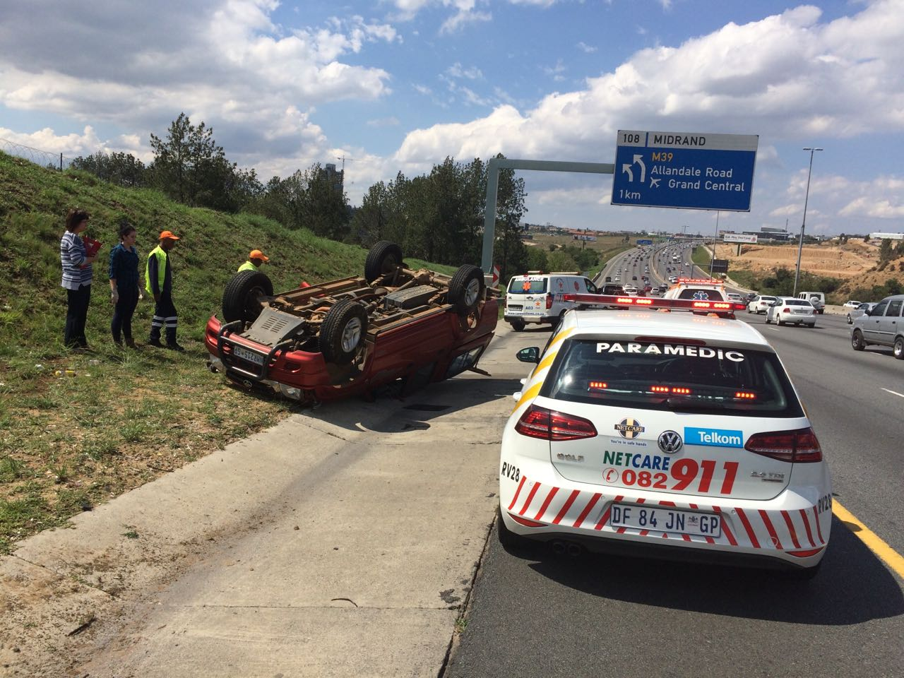 One injured after vehicle overturned on N1 North near Allandale off-ramp in Midrand.